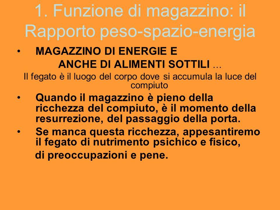1. Funzione di magazzino: il Rapporto peso-spazio-energia MAGAZZINO DI ENERGIE E ANCHE DI ALIMENTI SOTTILI … Il fegato è il luogo del corpo dove si ac