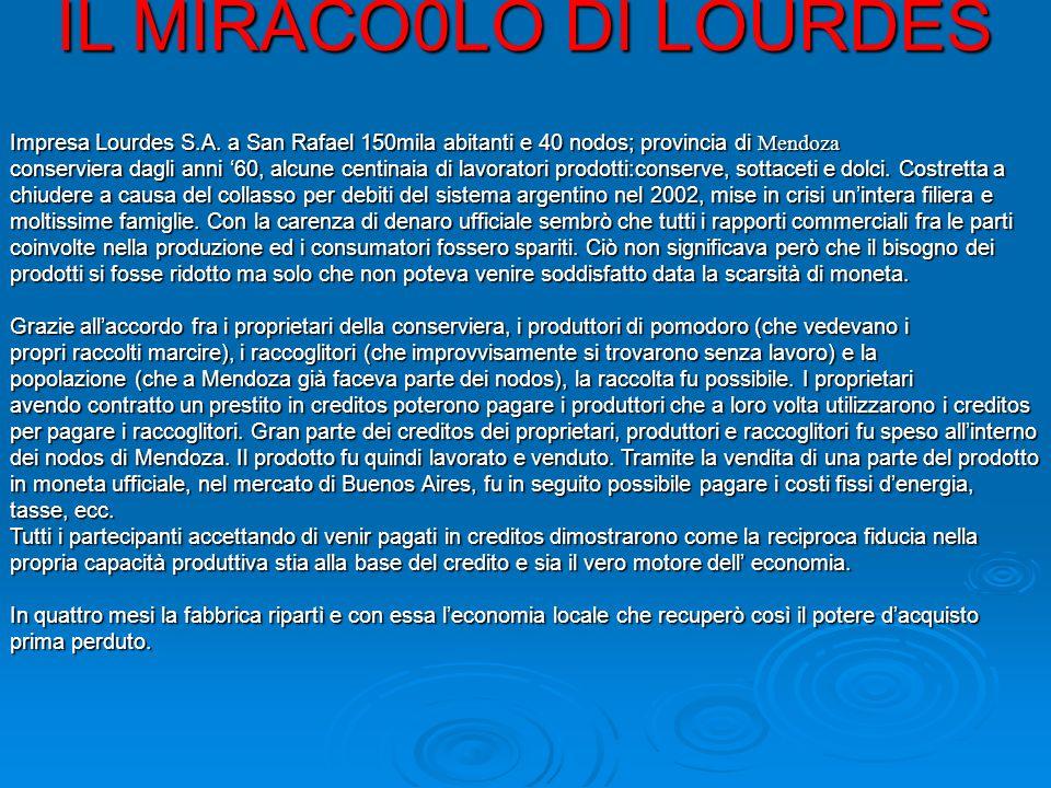 IL MIRACO0LO DI LOURDES Impresa Lourdes S.A.