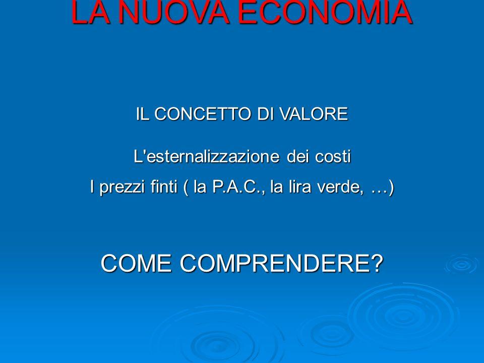 LA NUOVA ECONOMIA IL CONCETTO DI VALORE L esternalizzazione dei costi I prezzi finti ( la P.A.C., la lira verde, …) COME COMPRENDERE