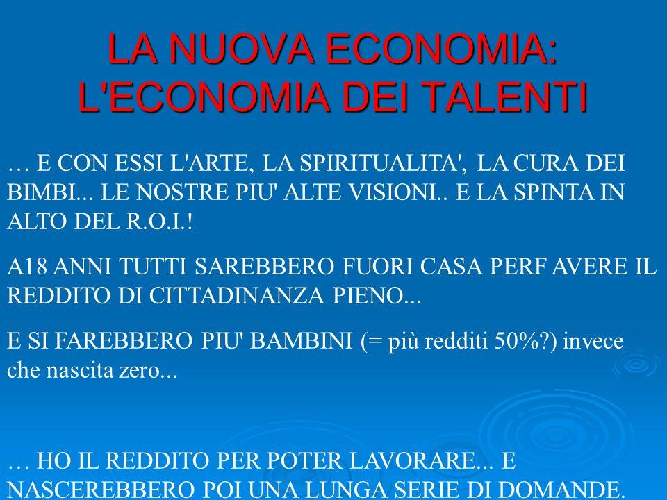 LA NUOVA ECONOMIA: L ECONOMIA DEI TALENTI … E CON ESSI L ARTE, LA SPIRITUALITA , LA CURA DEI BIMBI...