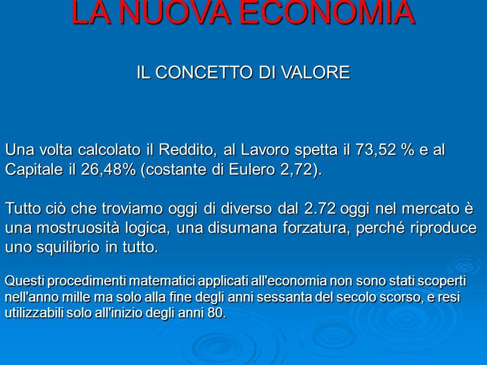 LA NUOVA ECONOMIA IL CONCETTO DI VALORE Una volta calcolato il Reddito, al Lavoro spetta il 73,52 % e al Capitale il 26,48% (costante di Eulero 2,72).