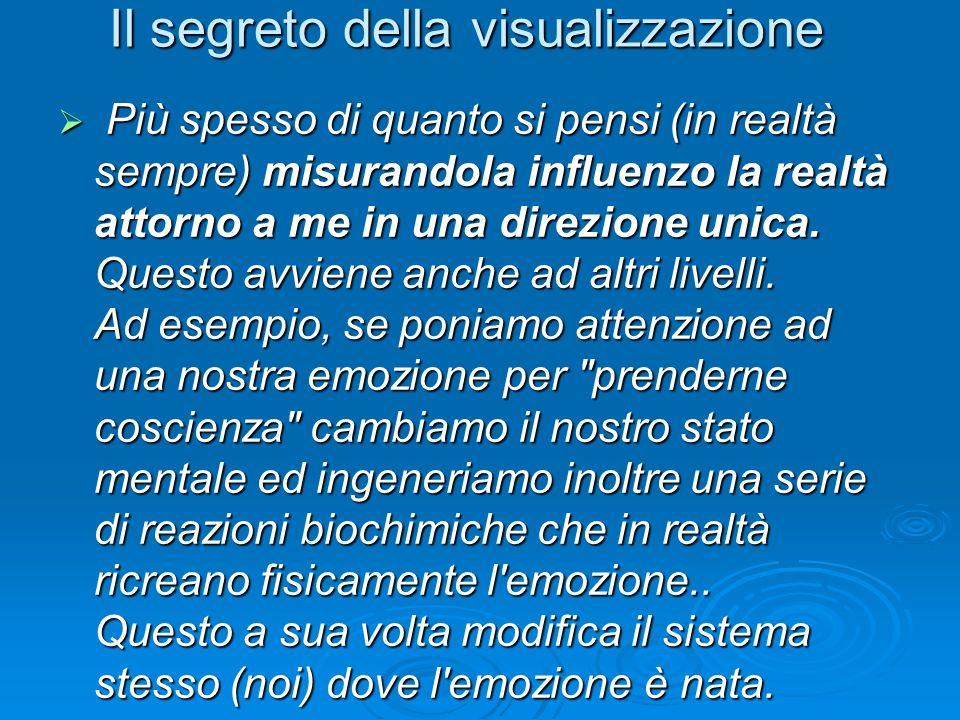 Il segreto della visualizzazione Più spesso di quanto si pensi (in realtà sempre) misurandola influenzo la realtà attorno a me in una direzione unica.