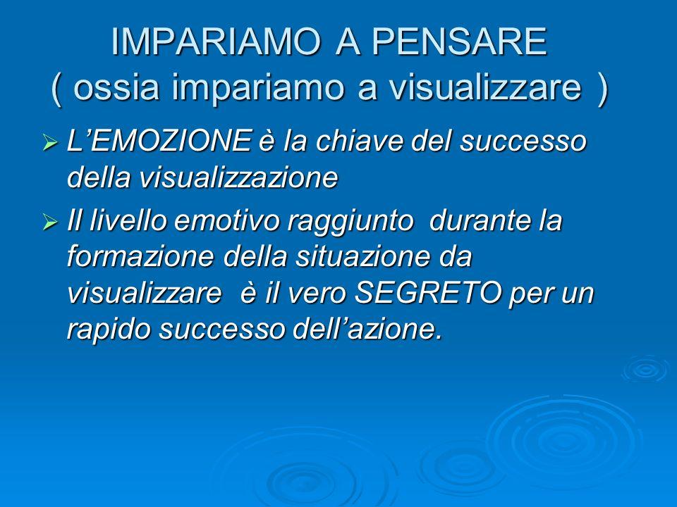 IMPARIAMO A PENSARE ( ossia impariamo a visualizzare ) LEMOZIONE è la chiave del successo della visualizzazione LEMOZIONE è la chiave del successo del