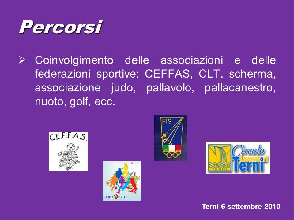 Percorsi Coinvolgimento delle associazioni e delle federazioni sportive: CEFFAS, CLT, scherma, associazione judo, pallavolo, pallacanestro, nuoto, gol