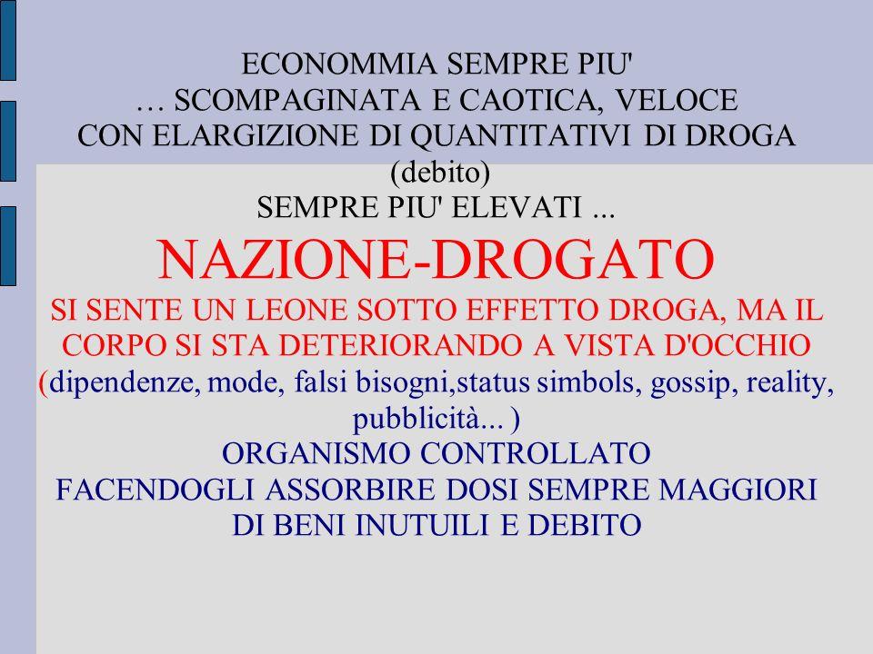 ECONOMMIA SEMPRE PIU … SCOMPAGINATA E CAOTICA, VELOCE CON ELARGIZIONE DI QUANTITATIVI DI DROGA (debito) SEMPRE PIU ELEVATI...