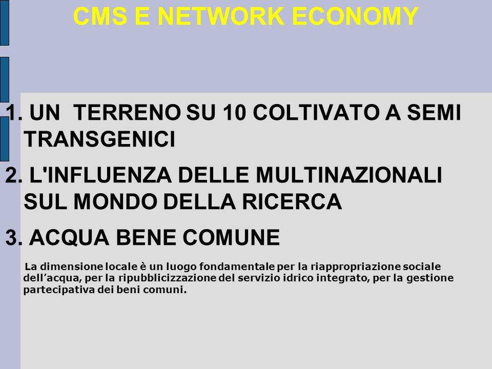 CMS E NETWORK ECONOMY 1. UN TERRENO SU 10 COLTIVATO A SEMI TRANSGENICI 2.