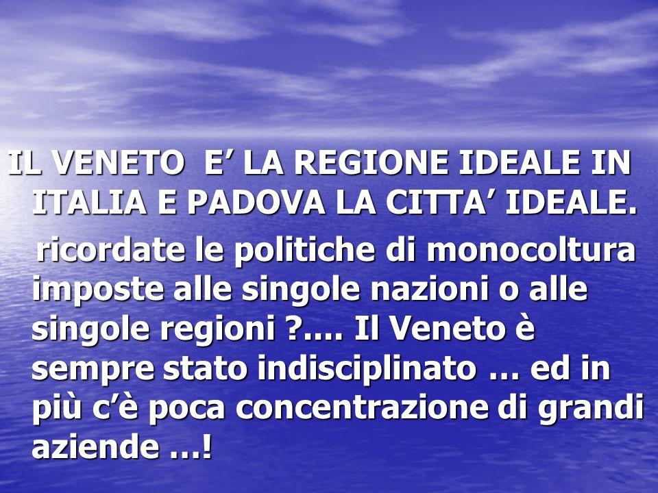 IL VENETO E LA REGIONE IDEALE IN ITALIA E PADOVA LA CITTA IDEALE. ricordate le politiche di monocoltura imposte alle singole nazioni o alle singole re