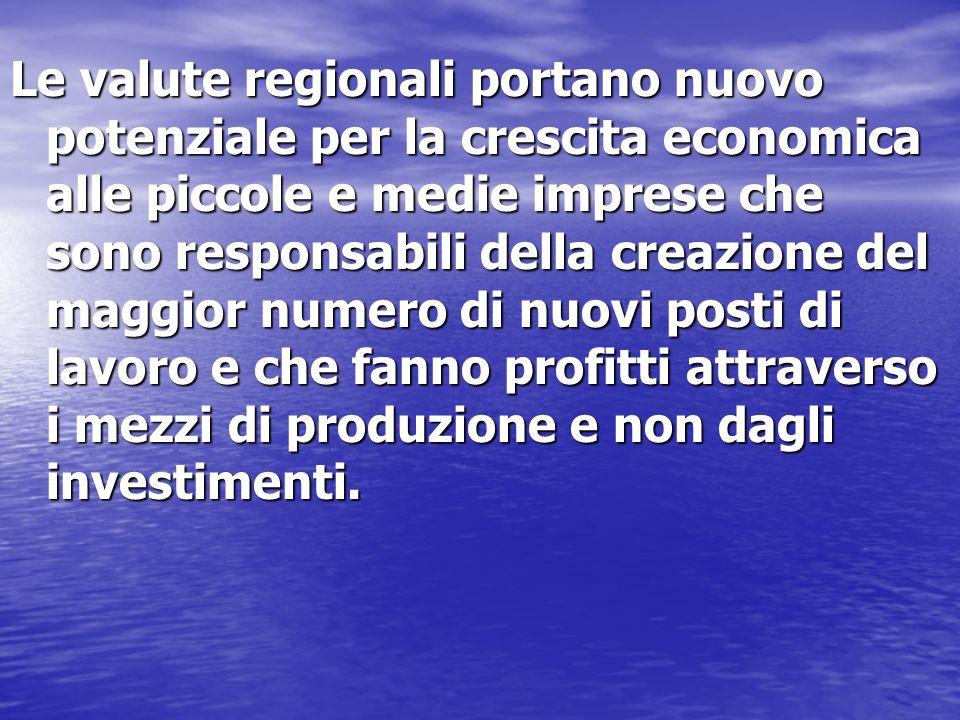 Le valute regionali portano nuovo potenziale per la crescita economica alle piccole e medie imprese che sono responsabili della creazione del maggior