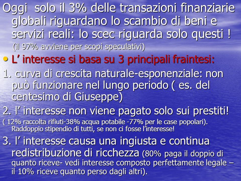 Oggi solo il 3% delle transazioni finanziarie globali riguardano lo scambio di beni e servizi reali: lo scec riguarda solo questi ! (il 97% avviene pe