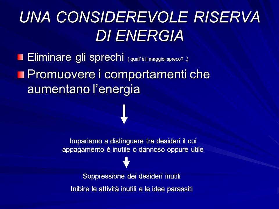 UNA CONSIDEREVOLE RISERVA DI ENERGIA Eliminare gli sprechi ( qual è il maggior spreco?...) Promuovere i comportamenti che aumentano lenergia Impariamo