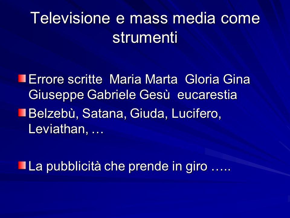 Televisione e mass media come strumenti Errore scritte Maria Marta Gloria Gina Giuseppe Gabriele Gesù eucarestia Belzebù, Satana, Giuda, Lucifero, Lev