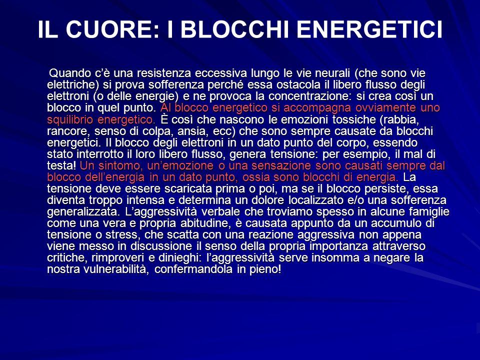 IL CUORE: I BLOCCHI ENERGETICI Quando cè una resistenza eccessiva lungo le vie neurali (che sono vie elettriche) si prova sofferenza perché essa ostac