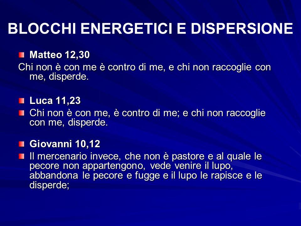BLOCCHI ENERGETICI E DISPERSIONE Matteo 12,30 Chi non è con me è contro di me, e chi non raccoglie con me, disperde. Luca 11,23 Chi non è con me, è co