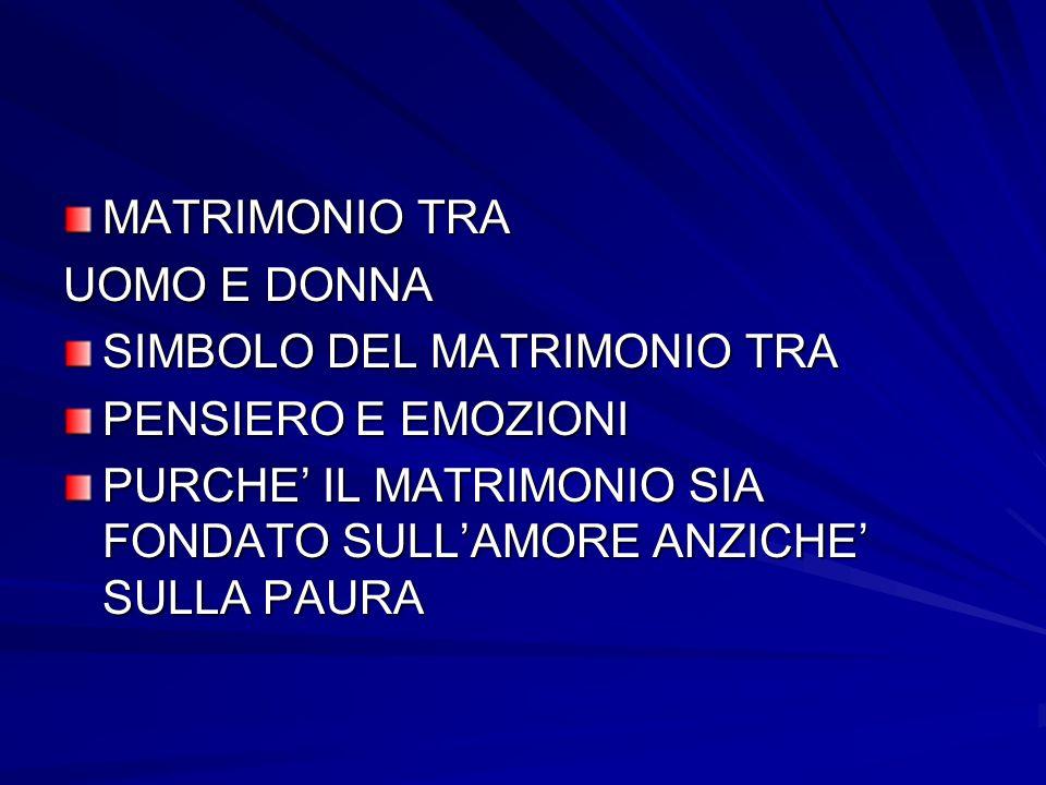 MATRIMONIO TRA UOMO E DONNA SIMBOLO DEL MATRIMONIO TRA PENSIERO E EMOZIONI PURCHE IL MATRIMONIO SIA FONDATO SULLAMORE ANZICHE SULLA PAURA