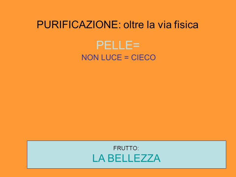 PURIFICAZIONE: oltre la via fisica PELLE= NON LUCE = CIECO FRUTTO: LA BELLEZZA
