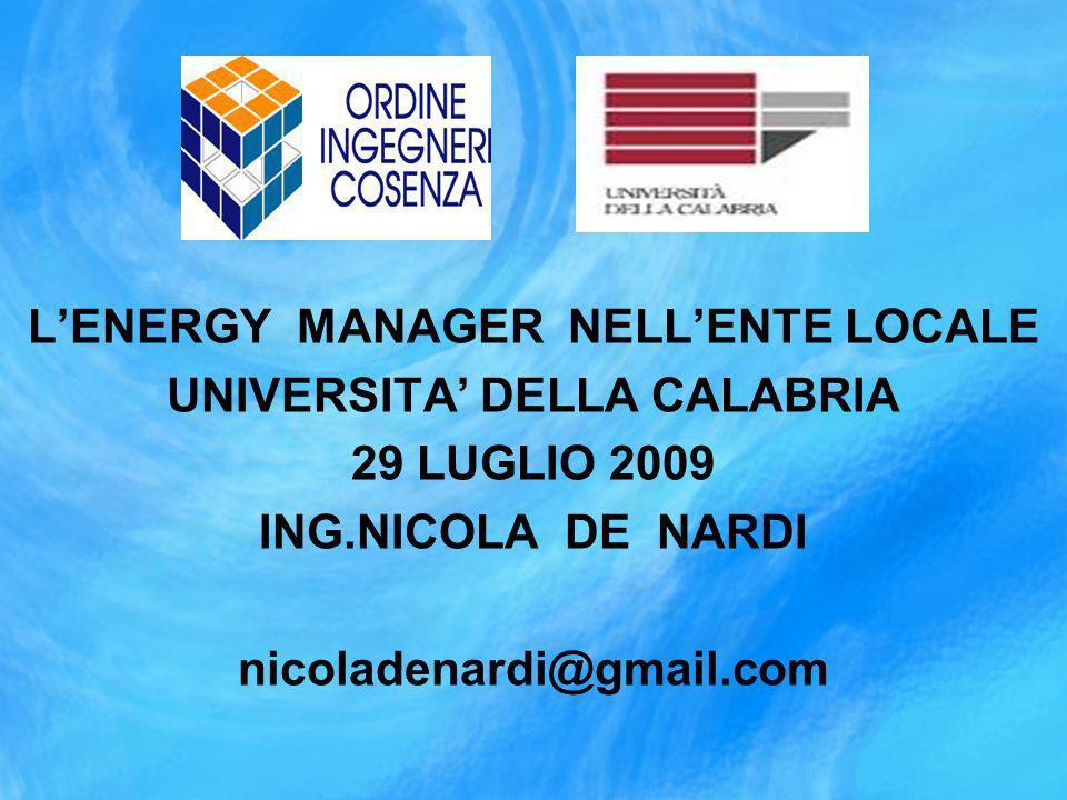 LENERGY MANAGER NELLENTE LOCALE UNIVERSITA DELLA CALABRIA 29 LUGLIO 2009 ING.NICOLA DE NARDI nicoladenardi@gmail.com