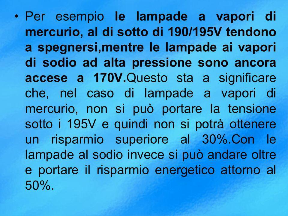 Per esempio le lampade a vapori di mercurio, al di sotto di 190/195V tendono a spegnersi,mentre le lampade ai vapori di sodio ad alta pressione sono ancora accese a 170V.Questo sta a significare che, nel caso di lampade a vapori di mercurio, non si può portare la tensione sotto i 195V e quindi non si potrà ottenere un risparmio superiore al 30%.Con le lampade al sodio invece si può andare oltre e portare il risparmio energetico attorno al 50%.