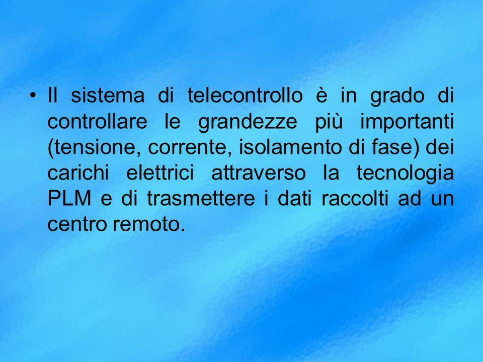 Il sistema di telecontrollo è in grado di controllare le grandezze più importanti (tensione, corrente, isolamento di fase) dei carichi elettrici attraverso la tecnologia PLM e di trasmettere i dati raccolti ad un centro remoto.