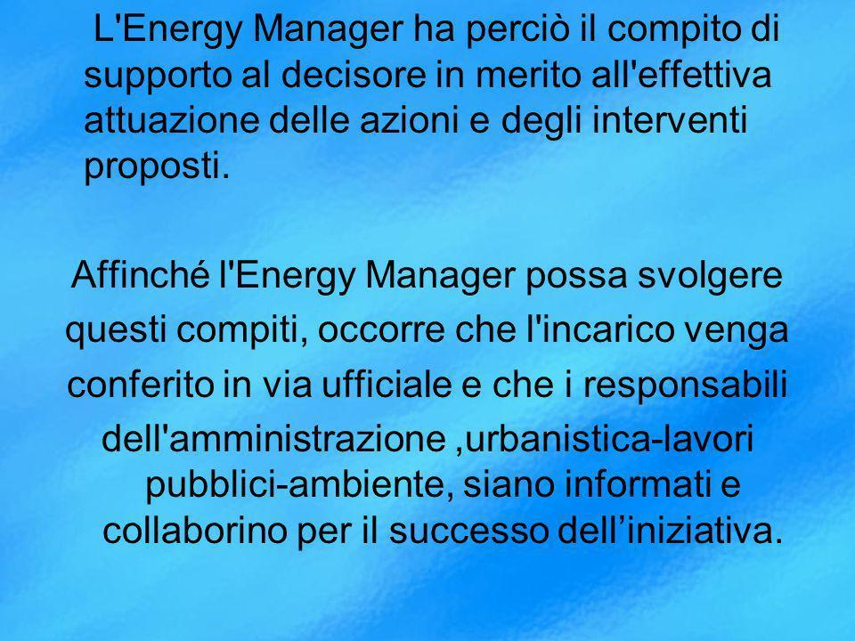 L Energy Manager ha perciò il compito di supporto al decisore in merito all effettiva attuazione delle azioni e degli interventi proposti.