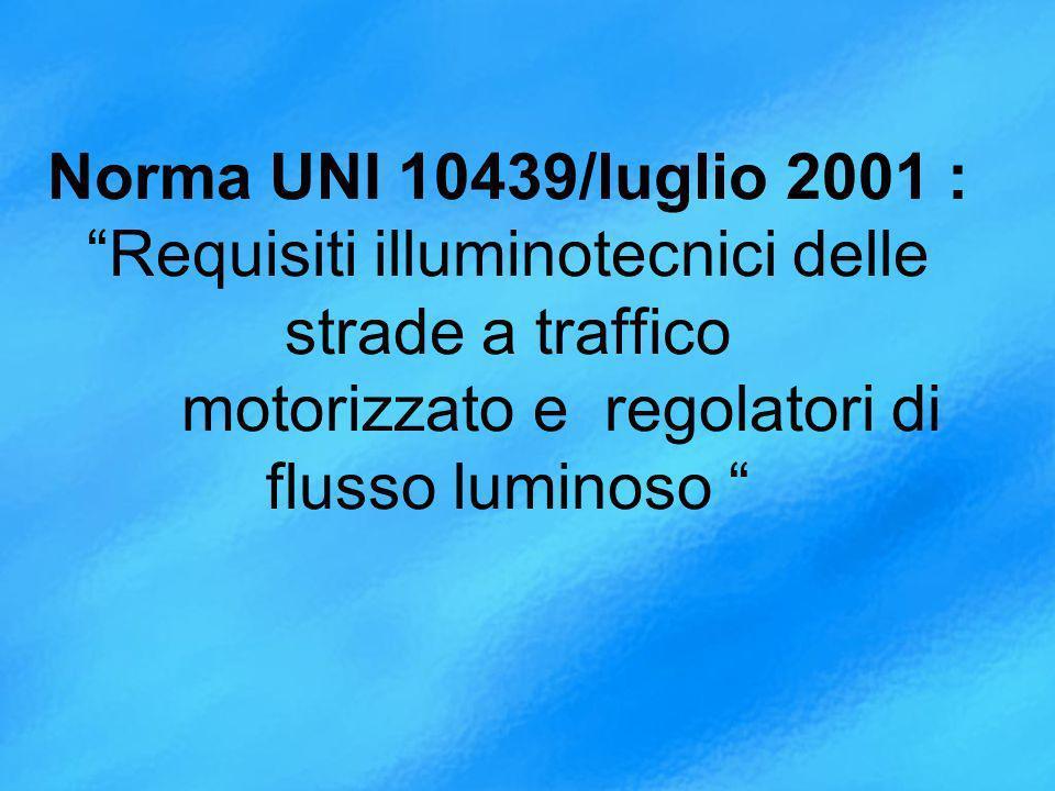 Norma UNI 10439/luglio 2001 : Requisiti illuminotecnici delle strade a traffico motorizzato e regolatori di flusso luminoso