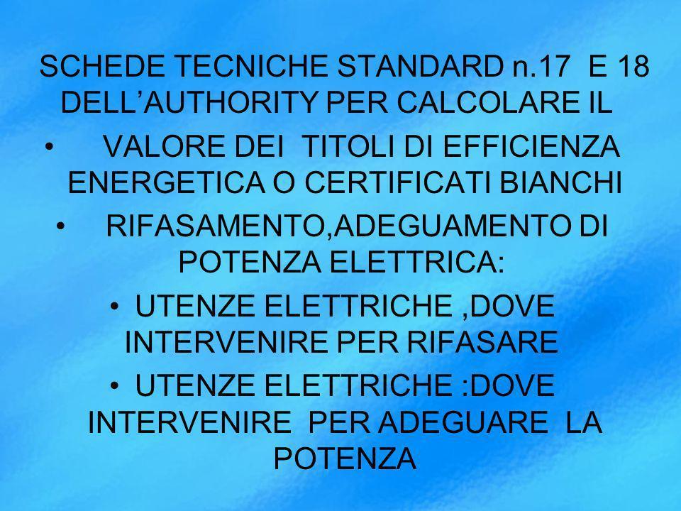 SCHEDE TECNICHE STANDARD n.17 E 18 DELLAUTHORITY PER CALCOLARE IL VALORE DEI TITOLI DI EFFICIENZA ENERGETICA O CERTIFICATI BIANCHI RIFASAMENTO,ADEGUAMENTO DI POTENZA ELETTRICA: UTENZE ELETTRICHE,DOVE INTERVENIRE PER RIFASARE UTENZE ELETTRICHE :DOVE INTERVENIRE PER ADEGUARE LA POTENZA