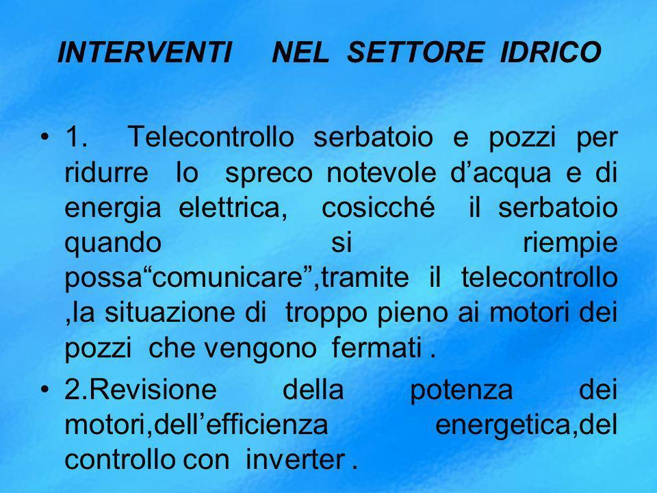 INTERVENTI NEL SETTORE IDRICO 1.