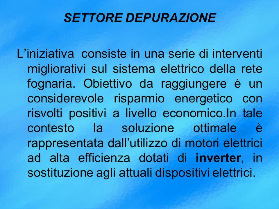 SETTORE DEPURAZIONE Liniziativa consiste in una serie di interventi migliorativi sul sistema elettrico della rete fognaria.