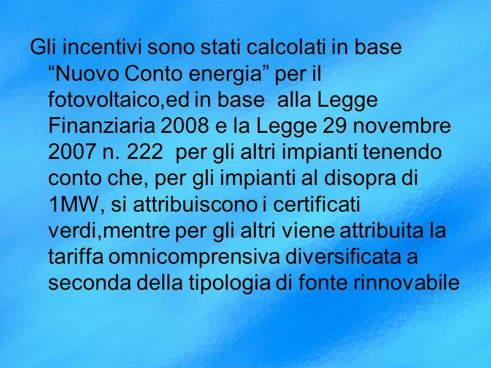 Gli incentivi sono stati calcolati in base Nuovo Conto energia per il fotovoltaico,ed in base alla Legge Finanziaria 2008 e la Legge 29 novembre 2007 n.