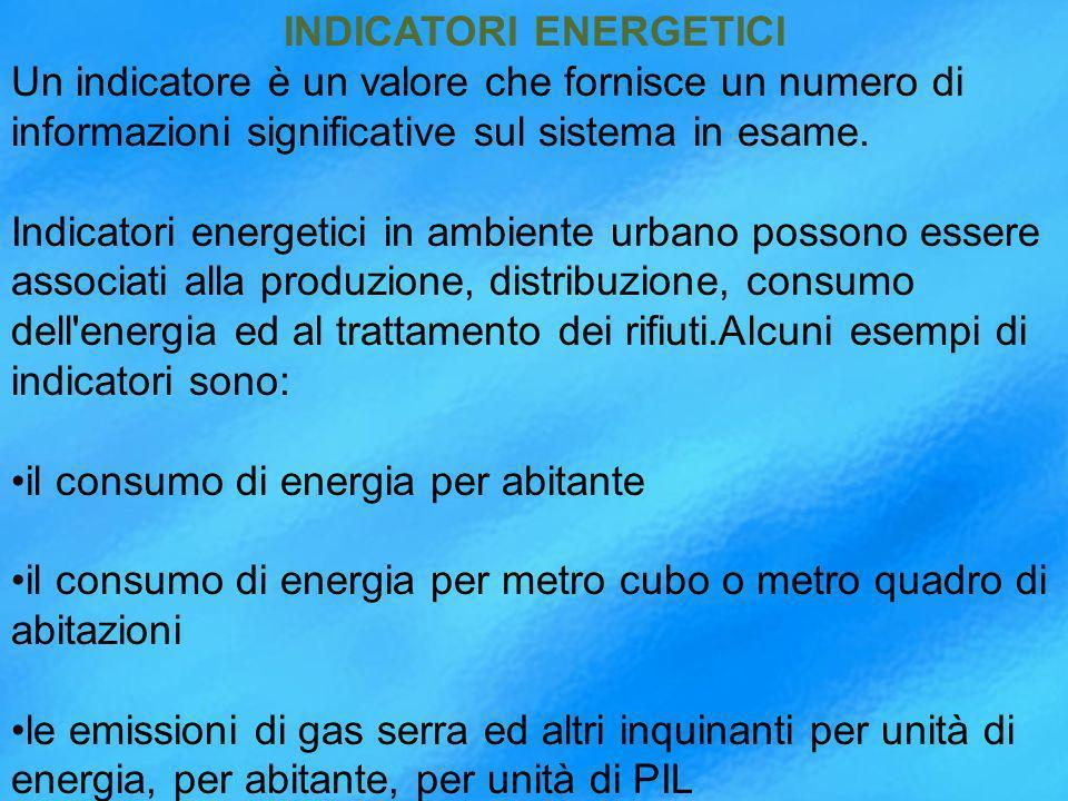 INDICATORI ENERGETICI Un indicatore è un valore che fornisce un numero di informazioni significative sul sistema in esame.
