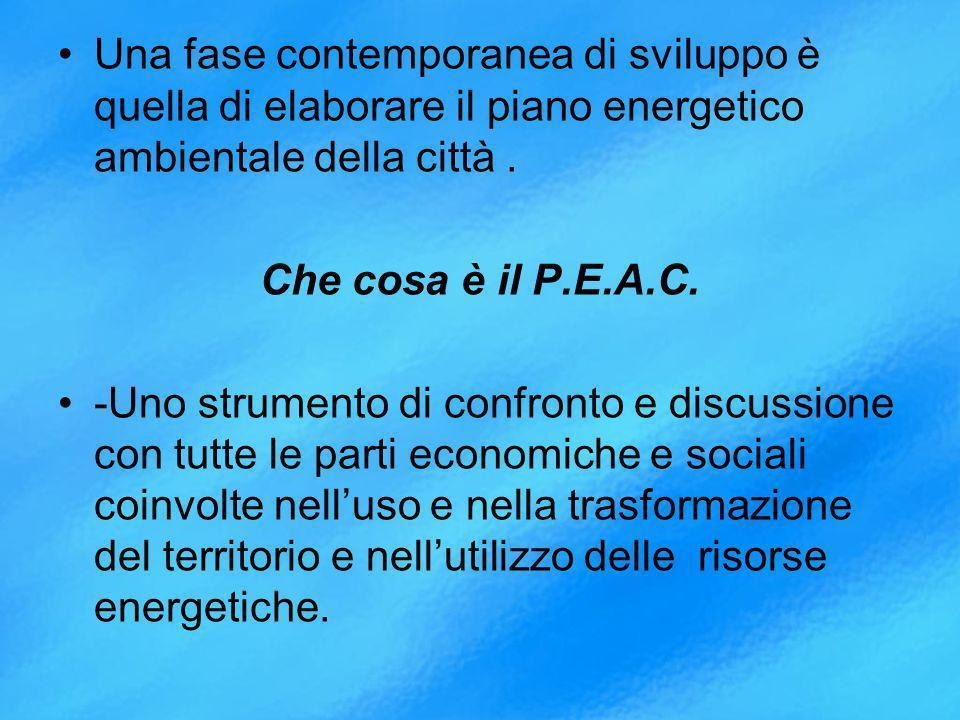 Una fase contemporanea di sviluppo è quella di elaborare il piano energetico ambientale della città.