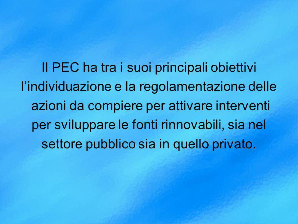 Il PEC ha tra i suoi principali obiettivi lindividuazione e la regolamentazione delle azioni da compiere per attivare interventi per sviluppare le fonti rinnovabili, sia nel settore pubblico sia in quello privato.
