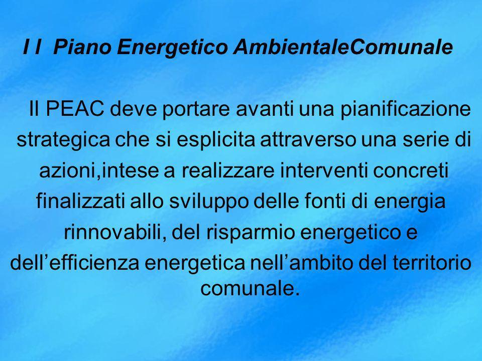 I l Piano Energetico AmbientaleComunale Il PEAC deve portare avanti una pianificazione strategica che si esplicita attraverso una serie di azioni,intese a realizzare interventi concreti finalizzati allo sviluppo delle fonti di energia rinnovabili, del risparmio energetico e dellefficienza energetica nellambito del territorio comunale.