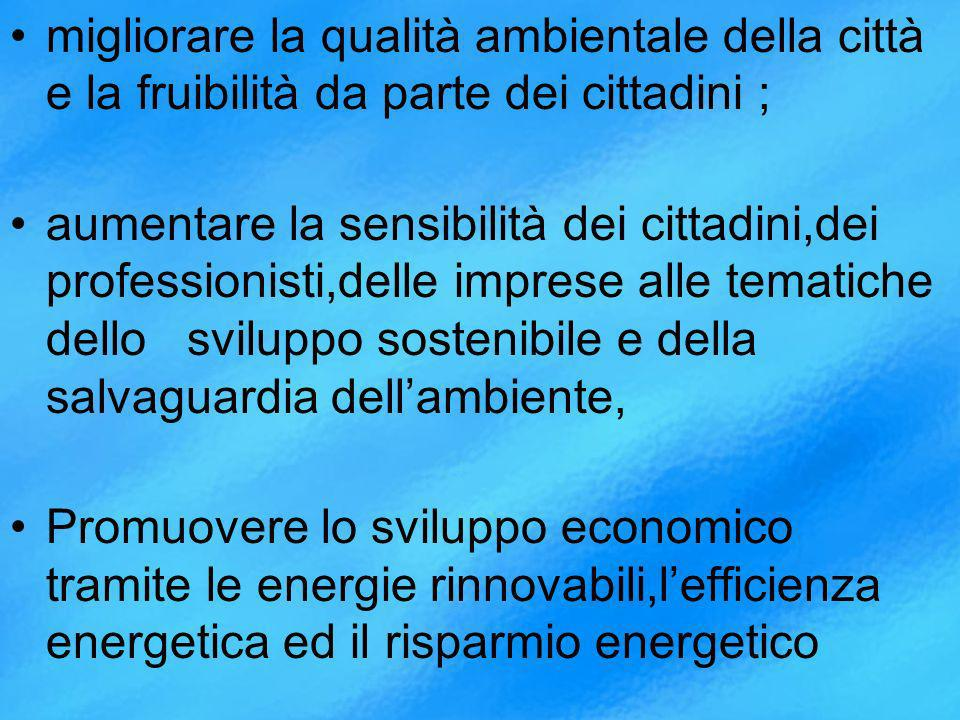 migliorare la qualità ambientale della città e la fruibilità da parte dei cittadini ; aumentare la sensibilità dei cittadini,dei professionisti,delle imprese alle tematiche dello sviluppo sostenibile e della salvaguardia dellambiente, Promuovere lo sviluppo economico tramite le energie rinnovabili,lefficienza energetica ed il risparmio energetico