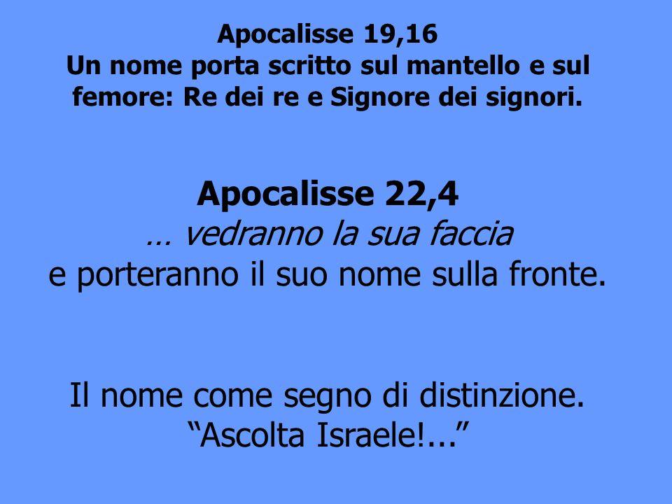Apocalisse 19,16 Un nome porta scritto sul mantello e sul femore: Re dei re e Signore dei signori. Apocalisse 22,4 … vedranno la sua faccia e porteran