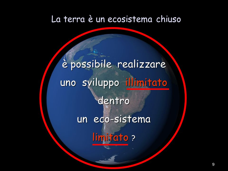 La terra è un ecosistema chiuso 9 è possibile realizzare uno sviluppo illimitato dentro un eco-sistema limitato ?