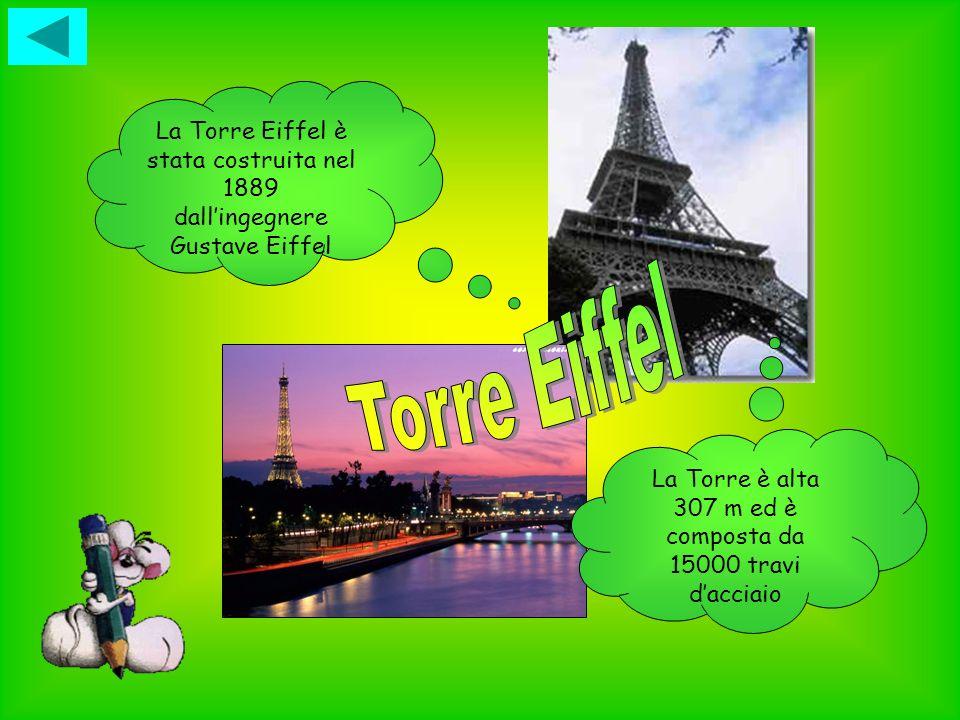 La Torre Eiffel è stata costruita nel 1889 dallingegnere Gustave Eiffel La Torre è alta 307 m ed è composta da 15000 travi dacciaio