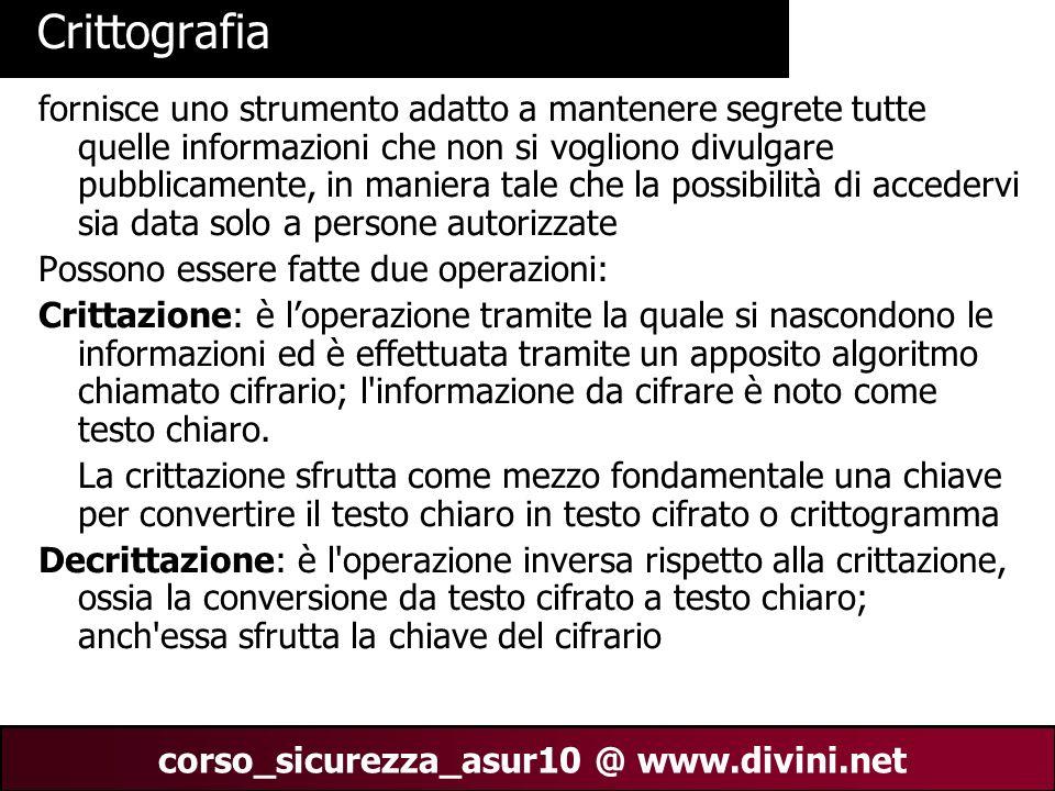 00 AN 2 corso_sicurezza_asur10 @ www.divini.net Crittografia fornisce uno strumento adatto a mantenere segrete tutte quelle informazioni che non si vo
