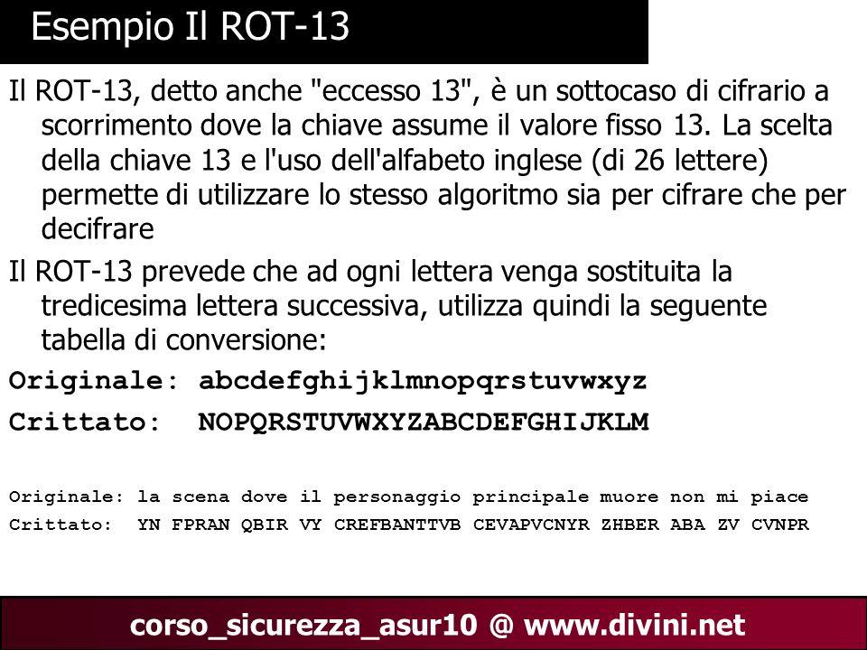 00 AN 4 corso_sicurezza_asur10 @ www.divini.net Schema del ROT13 Prendendo ad esempio la parola HELLO diventa URYYB.