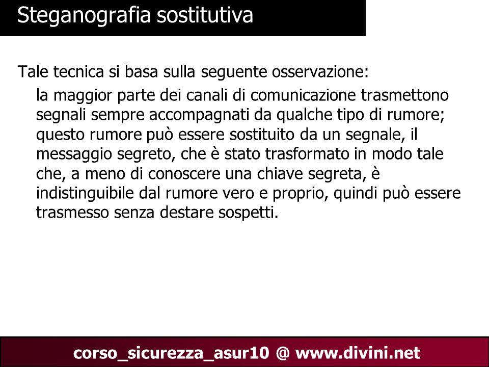 00 AN 7 corso_sicurezza_asur10 @ www.divini.net Steganografia sostitutiva Tale tecnica si basa sulla seguente osservazione: la maggior parte dei canal