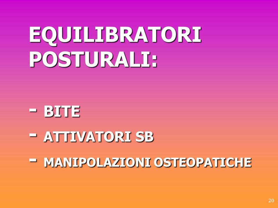 20 EQUILIBRATORI POSTURALI: - BITE - ATTIVATORI SB - MANIPOLAZIONI OSTEOPATICHE