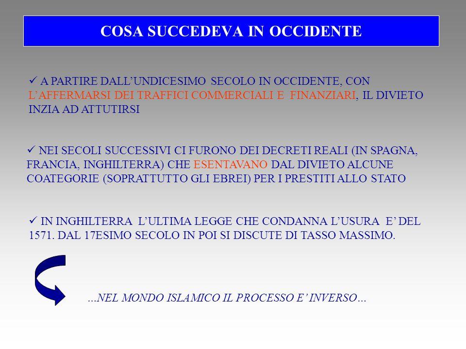 COSA SUCCEDEVA IN OCCIDENTE NEI SECOLI SUCCESSIVI CI FURONO DEI DECRETI REALI (IN SPAGNA, FRANCIA, INGHILTERRA) CHE ESENTAVANO DAL DIVIETO ALCUNE COATEGORIE (SOPRATTUTTO GLI EBREI) PER I PRESTITI ALLO STATO A PARTIRE DALLUNDICESIMO SECOLO IN OCCIDENTE, CON LAFFERMARSI DEI TRAFFICI COMMERCIALI E FINANZIARI, IL DIVIETO INZIA AD ATTUTIRSI IN INGHILTERRA LULTIMA LEGGE CHE CONDANNA LUSURA E DEL 1571.