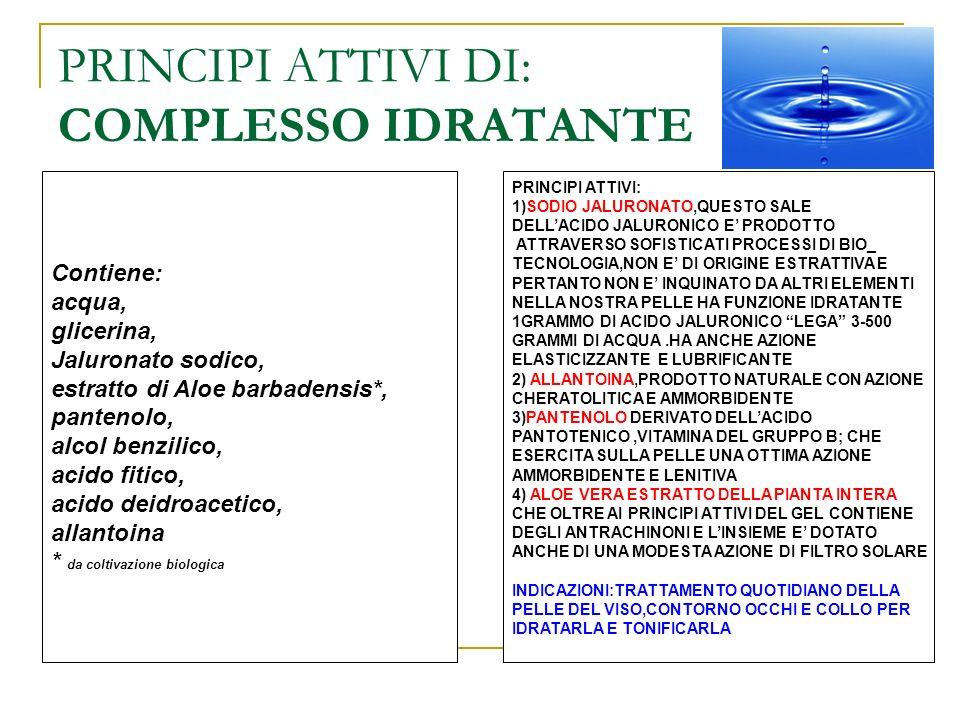 PRINCIPI ATTIVI DI: COMPLESSO IDRATANTE Contiene: acqua, glicerina, Jaluronato sodico, estratto di Aloe barbadensis*, pantenolo, alcol benzilico, acid