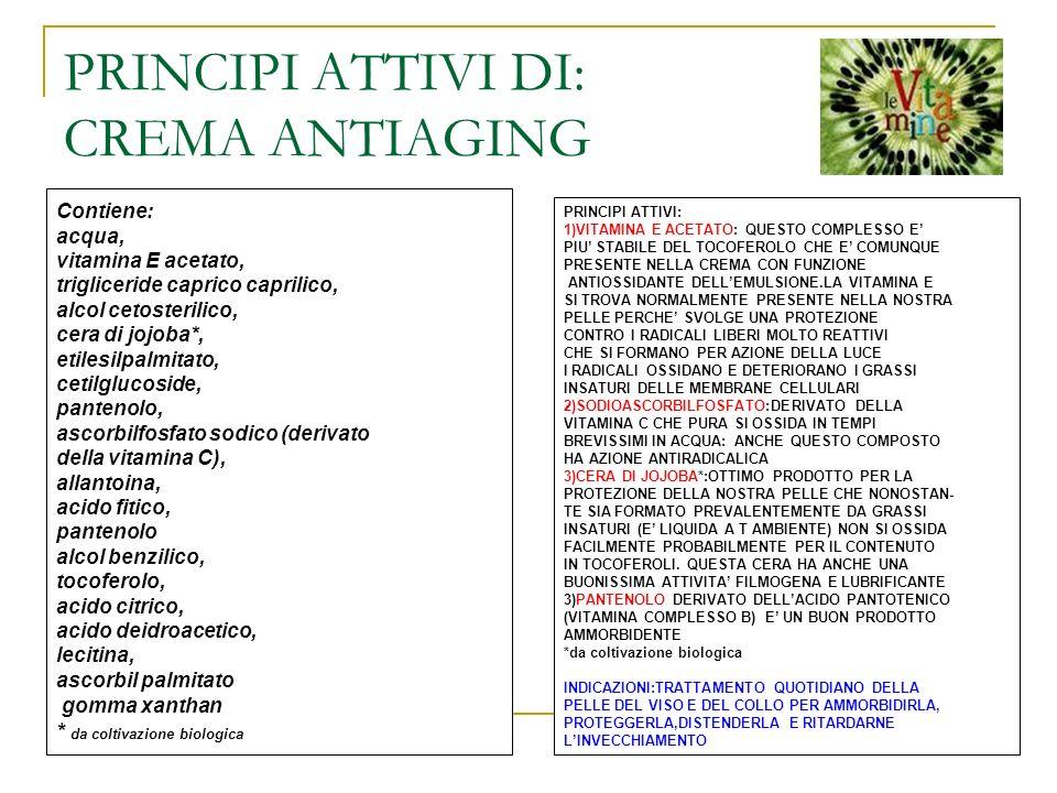 PRINCIPI ATTIVI DI: CREMA ANTIAGING Contiene: acqua, vitamina E acetato, trigliceride caprico caprilico, alcol cetosterilico, cera di jojoba*, etilesi