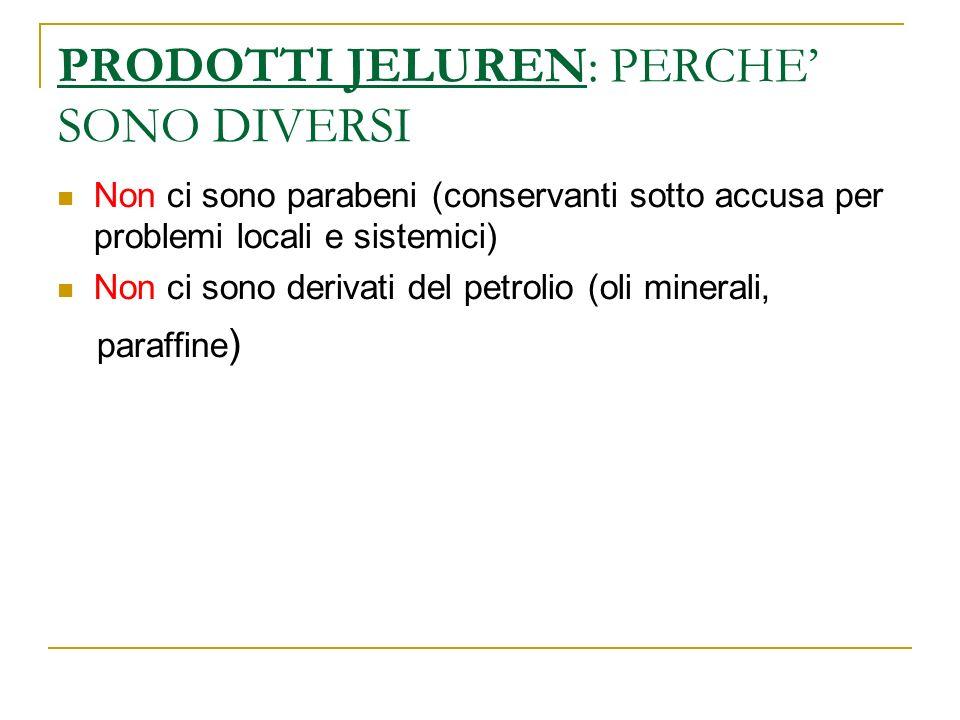 PRODOTTI JELUREN: PERCHE SONO DIVERSI Non ci sono parabeni (conservanti sotto accusa per problemi locali e sistemici) Non ci sono derivati del petrolio (oli minerali, paraffine )