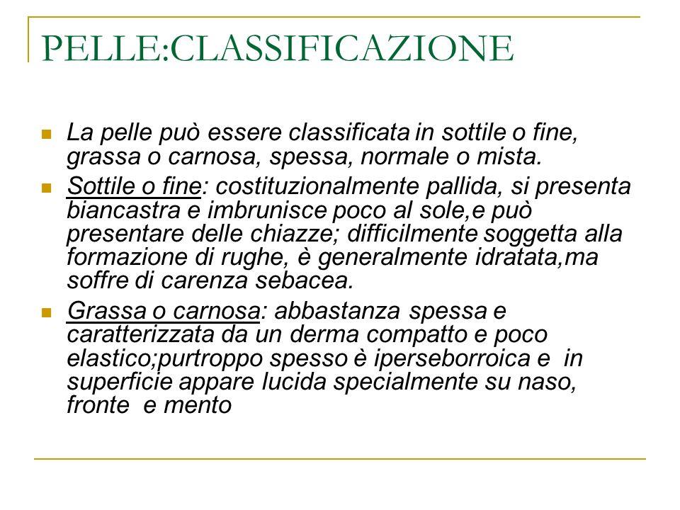 PELLE:CLASSIFICAZIONE La pelle può essere classificata in sottile o fine, grassa o carnosa, spessa, normale o mista.