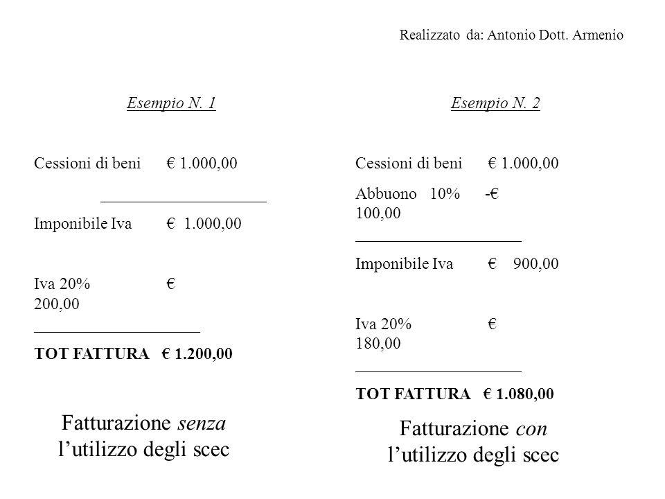 Abbiamo due esempi di fatturazione: la prima è la classica fattura di compravendita dalla quale scattano tutti gli adempimenti fiscali a noi noti; anche la seconda è la classica fattura con in più la comparsa dell abbuono.
