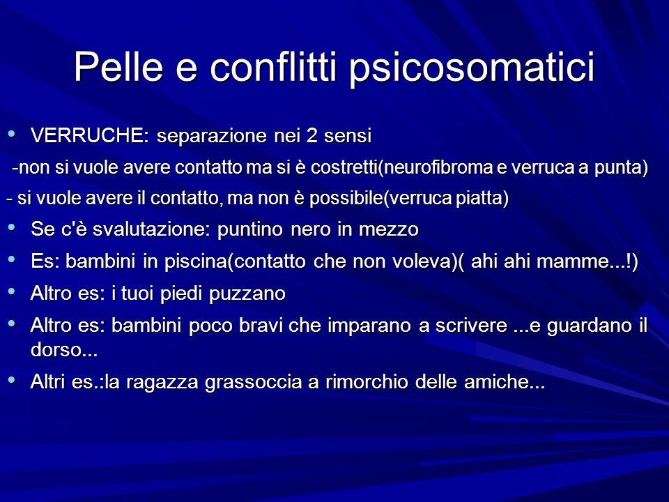 Pelle e conflitti psicosomatici VERRUCHE: separazione nei 2 sensi VERRUCHE: separazione nei 2 sensi - non si vuole avere contatto ma si è costretti(neurofibroma e verruca a punta) - non si vuole avere contatto ma si è costretti(neurofibroma e verruca a punta) - si vuole avere il contatto, ma non è possibile(verruca piatta) Se c è svalutazione: puntino nero in mezzo Se c è svalutazione: puntino nero in mezzo Es: bambini in piscina(contatto che non voleva)( ahi ahi mamme...!) Es: bambini in piscina(contatto che non voleva)( ahi ahi mamme...!) Altro es: i tuoi piedi puzzano Altro es: i tuoi piedi puzzano Altro es: bambini poco bravi che imparano a scrivere...e guardano il dorso...