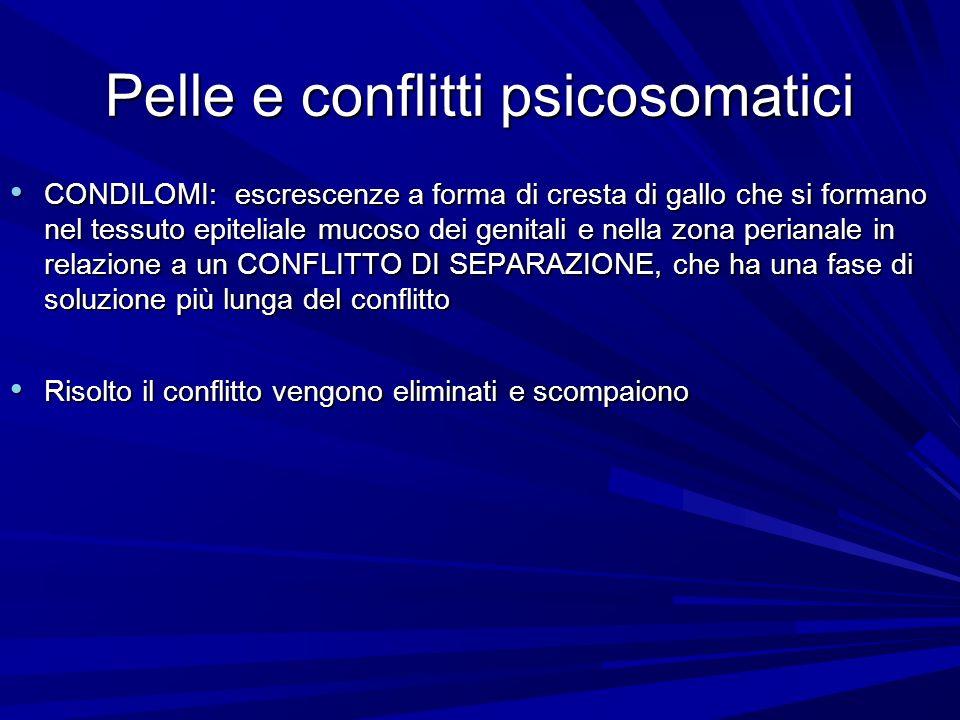 Pelle e conflitti psicosomatici CONDILOMI: escrescenze a forma di cresta di gallo che si formano nel tessuto epiteliale mucoso dei genitali e nella zona perianale in relazione a un CONFLITTO DI SEPARAZIONE, che ha una fase di soluzione più lunga del conflitto CONDILOMI: escrescenze a forma di cresta di gallo che si formano nel tessuto epiteliale mucoso dei genitali e nella zona perianale in relazione a un CONFLITTO DI SEPARAZIONE, che ha una fase di soluzione più lunga del conflitto Risolto il conflitto vengono eliminati e scompaiono Risolto il conflitto vengono eliminati e scompaiono