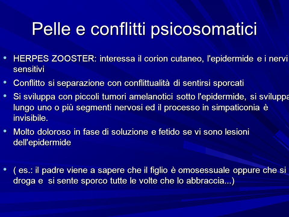 Pelle e conflitti psicosomatici HERPES ZOOSTER: interessa il corion cutaneo, l epidermide e i nervi sensitivi HERPES ZOOSTER: interessa il corion cutaneo, l epidermide e i nervi sensitivi Conflitto si separazione con conflittualità di sentirsi sporcati Conflitto si separazione con conflittualità di sentirsi sporcati Si sviluppa con piccoli tumori amelanotici sotto l epidermide, si sviluppa lungo uno o più segmenti nervosi ed il processo in simpaticonia è invisibile.