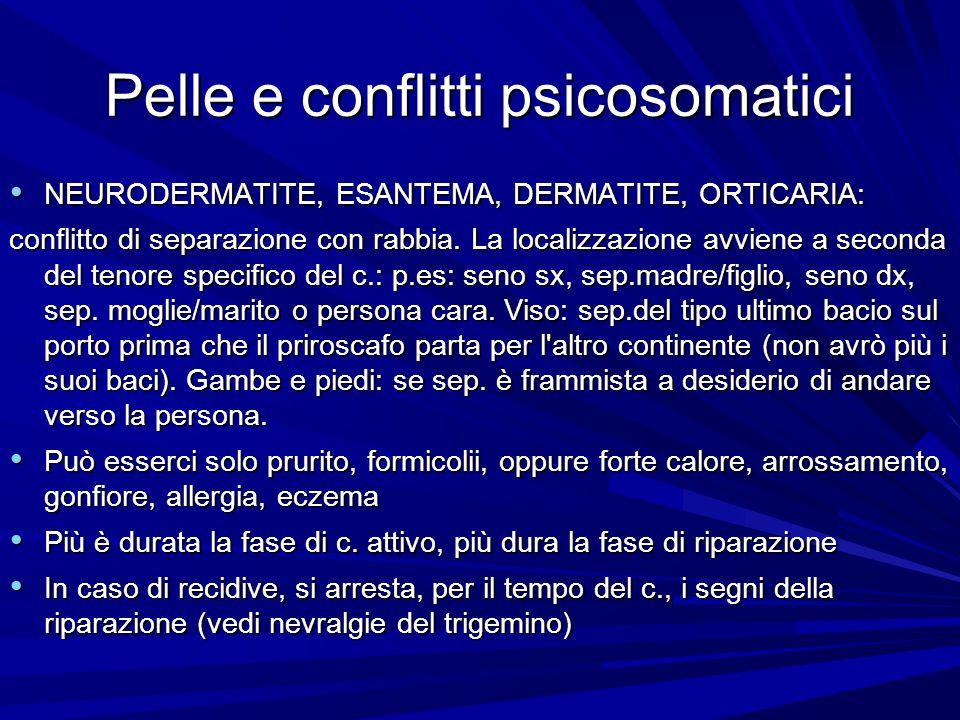 Pelle e conflitti psicosomatici NEURODERMATITE, ESANTEMA, DERMATITE, ORTICARIA: NEURODERMATITE, ESANTEMA, DERMATITE, ORTICARIA: conflitto di separazione con rabbia.